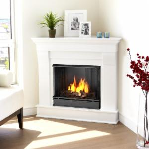 Real Flame Chateau Corner Ventless Gel Fireplace - White