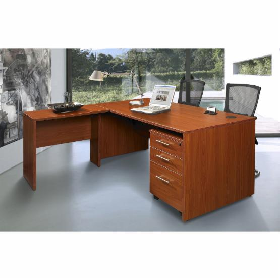 Unique Furniture Executive Desk with 3 Drawer Cabinet - Cherry