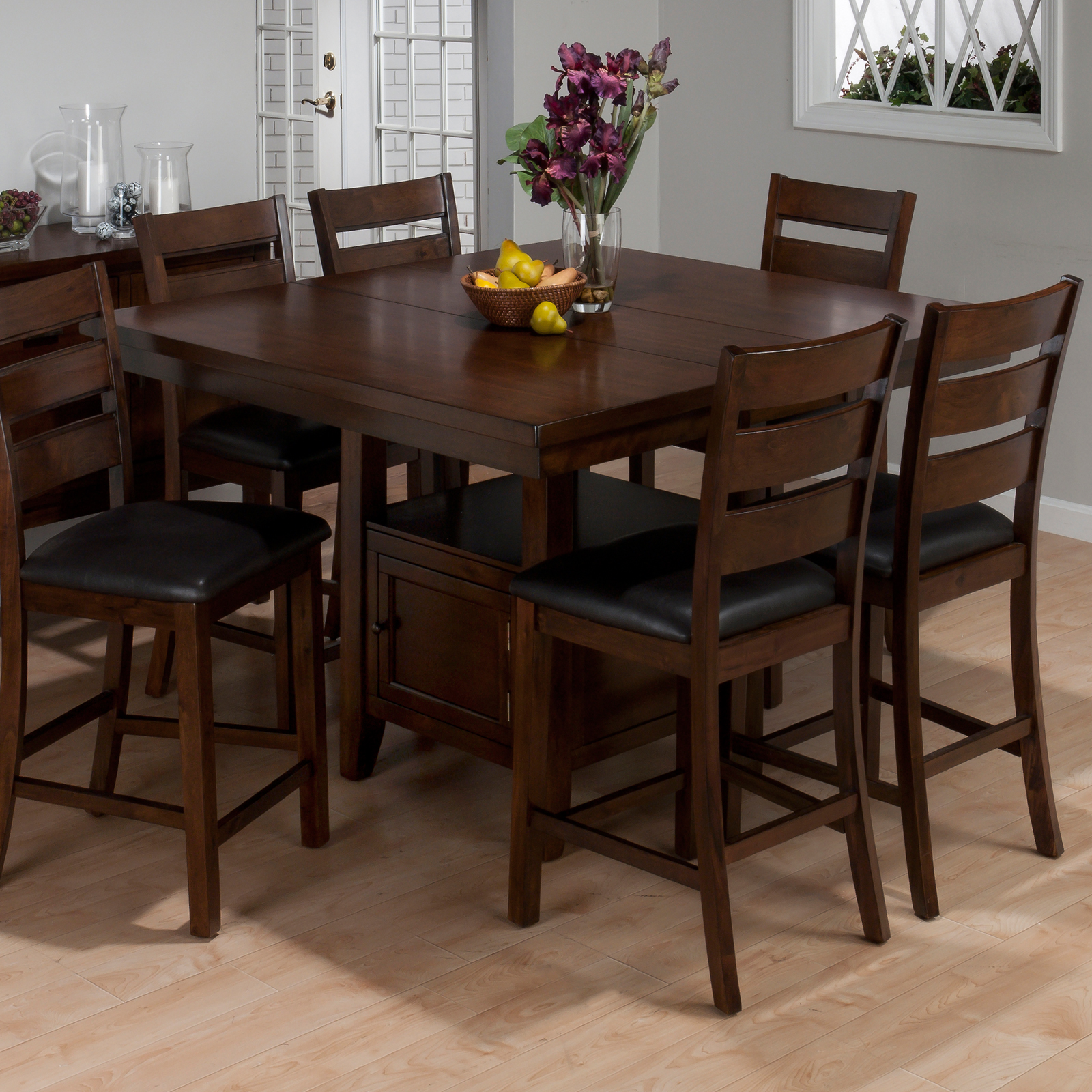 A America Laurelhurst Wine Storage Counter Height Dining Table   Rustic Oak  | Hayneedle