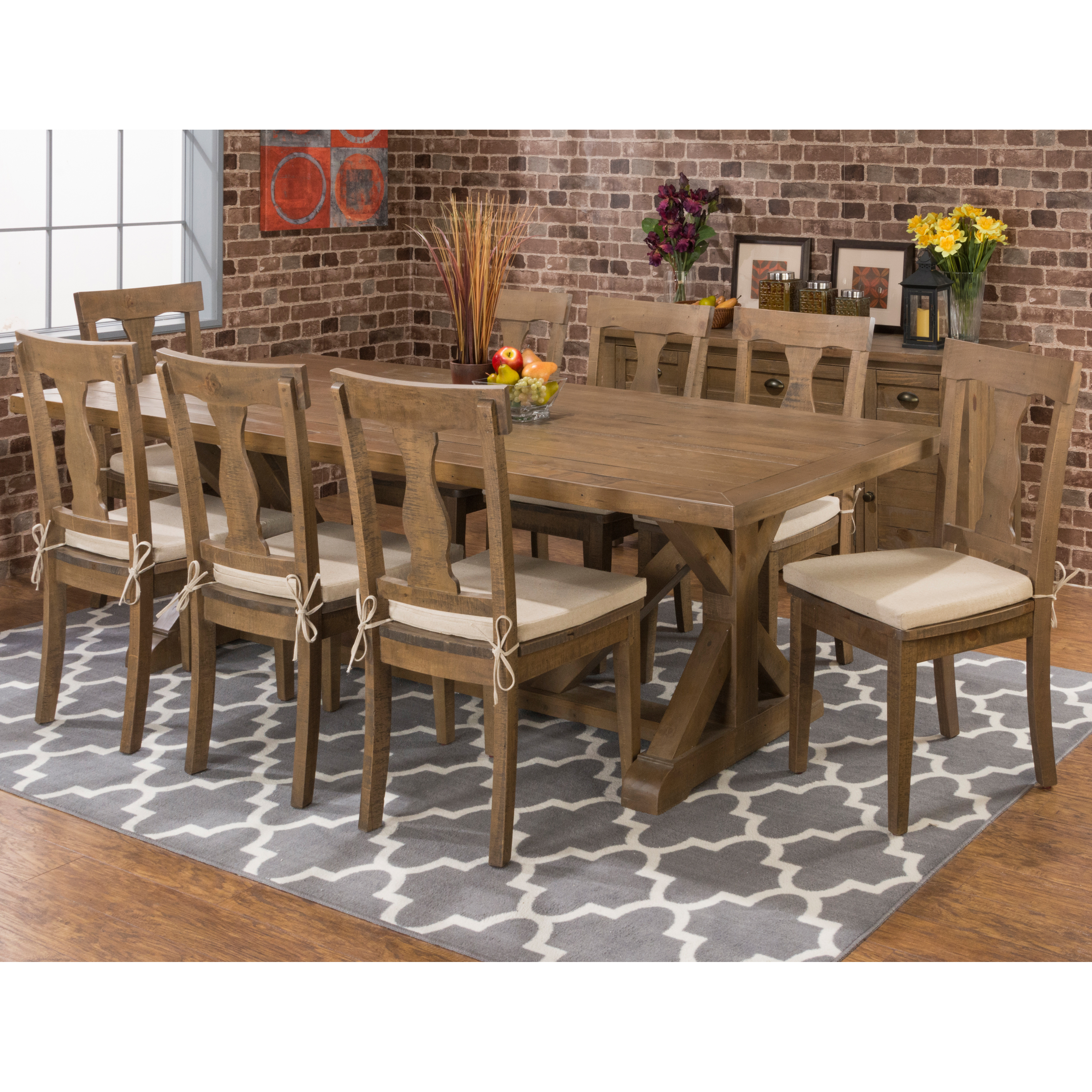 Distressed dining table - Trestle Dining Table With 18 In Butterfly Leaf Hayneedle