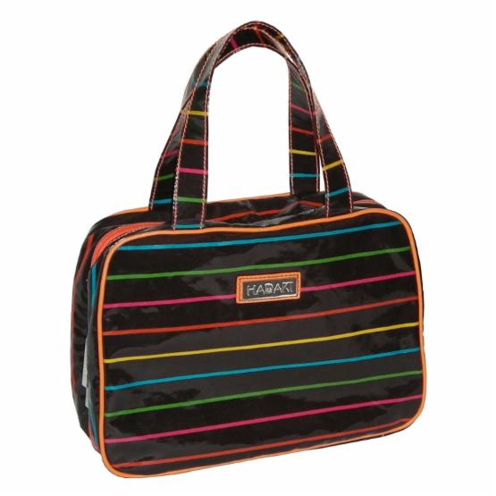 Hadaki by Kalencom Coated Makeup Case Pod - Pencil Stripes Tropical