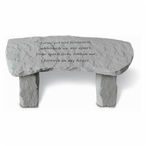 Kay Berry Gone Yet Not Forgotten Small Memorial Bench - 29 in. Cast Stone