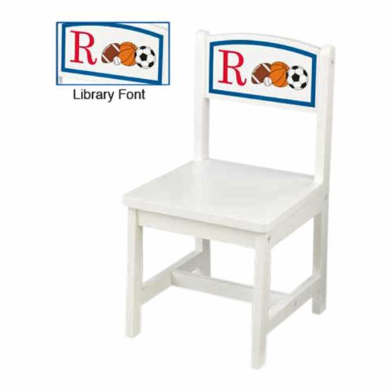 KidKraft Personalized Initial Sports White Aspen Chair