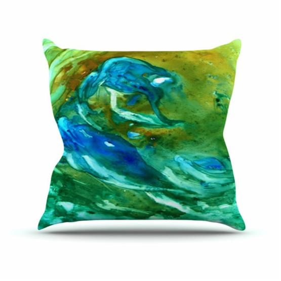 Kess InHouse Louise Machado Hurricane Green Blue Indoor/Outdoor Throw Pillow