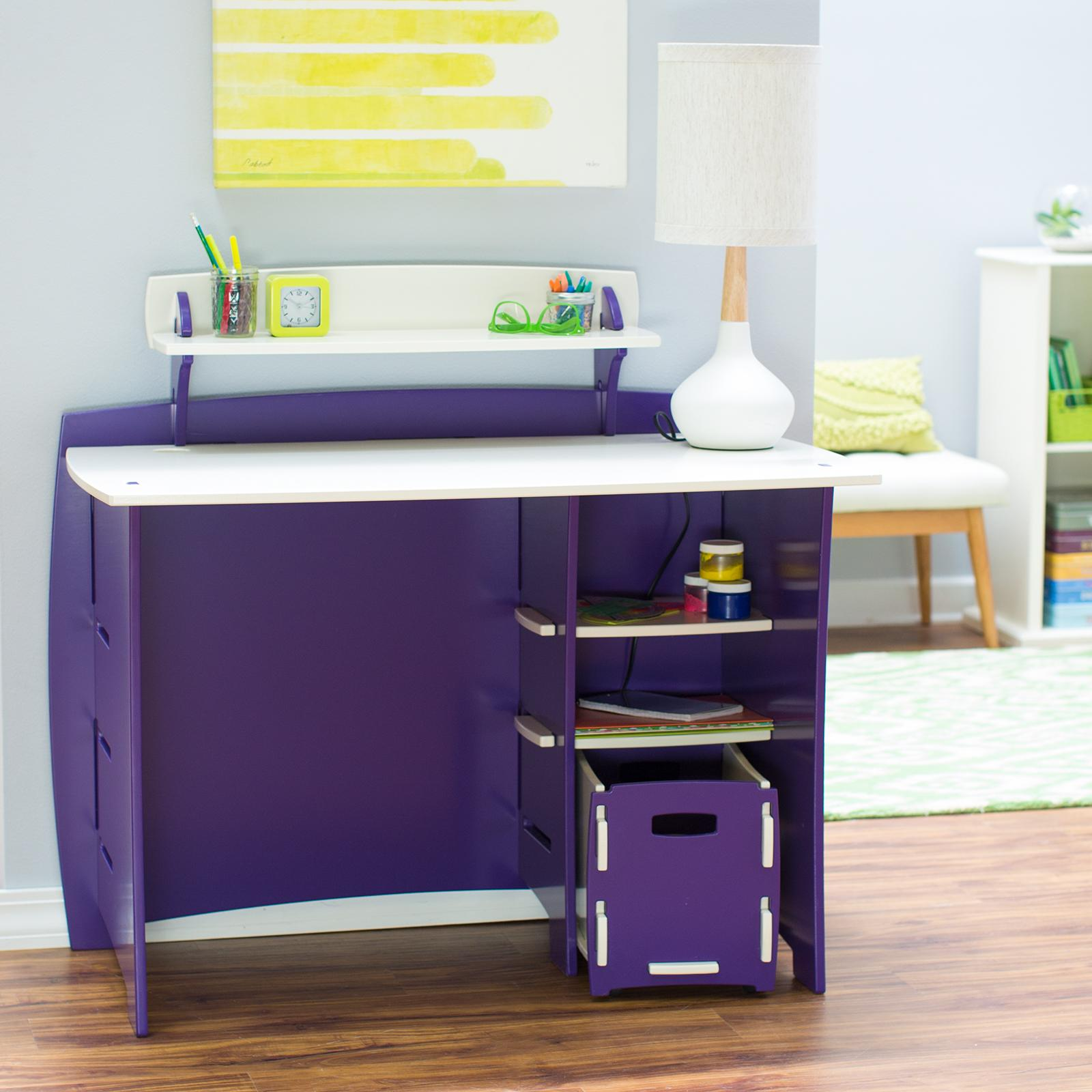 LEGARE Kids 43 in. Desk with Shelf and File Cart - Purple...