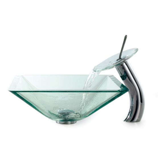 Kraus Aquamarine Square Vessel Sink and Waterfall Faucet