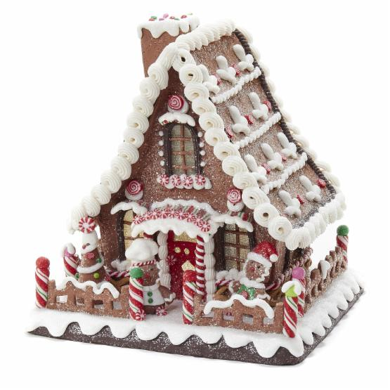 Kurt Adler 10 in. Battery-Operated Claydough LED Gingerbread House Tablepiece