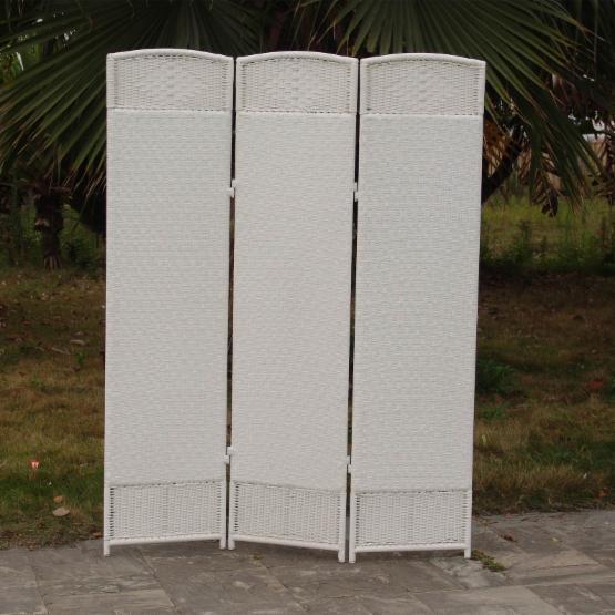 Outdoor/Indoor Woven Resin 3 Panel Room Divider - White