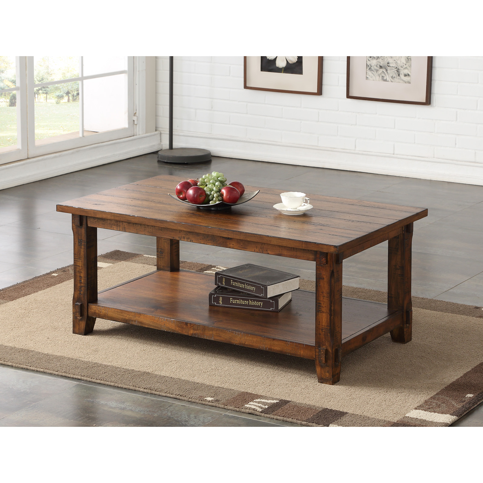 Magnussen Fleming Rectangle Rustic Pine Wood and Metal Coffee