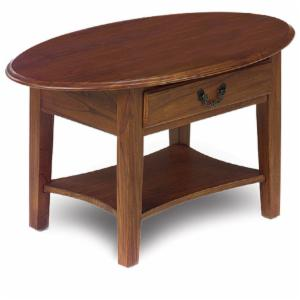 Oval Coffee Table with Drawer in Medium Oak