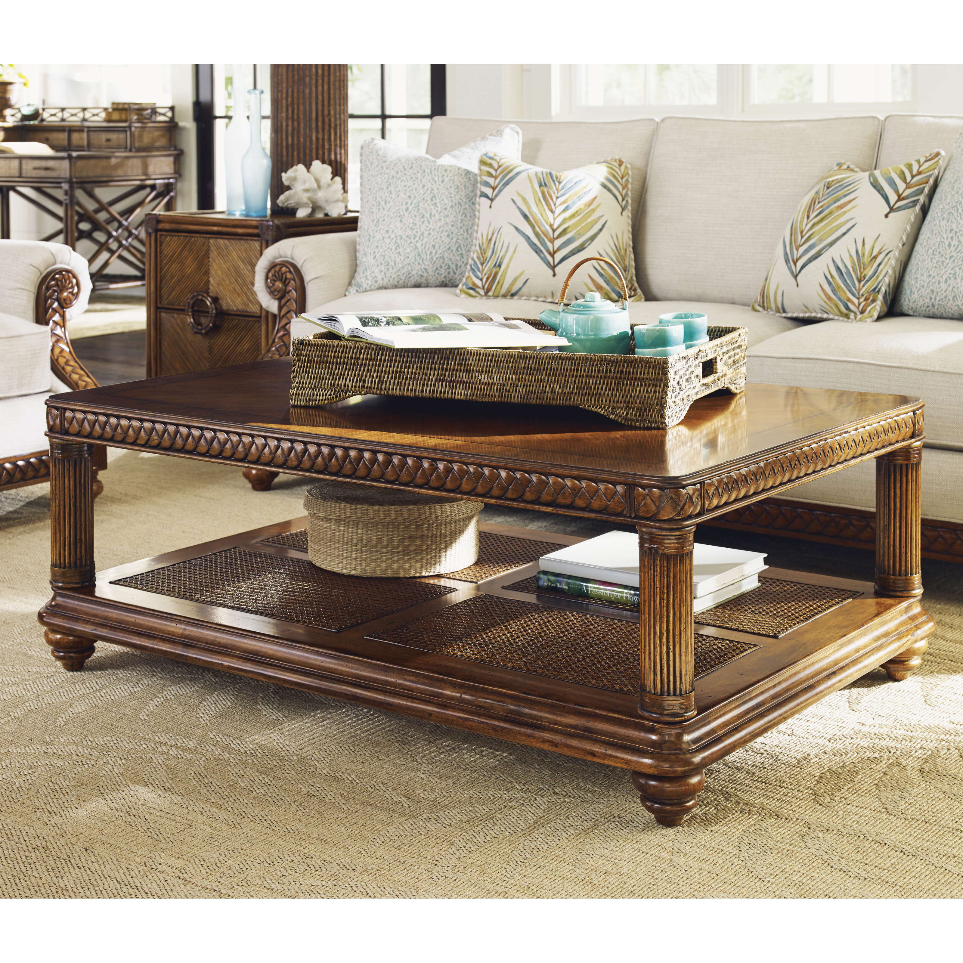 Tommy Bahama Ocean Club Solstice Rectangle Travertine and Wood