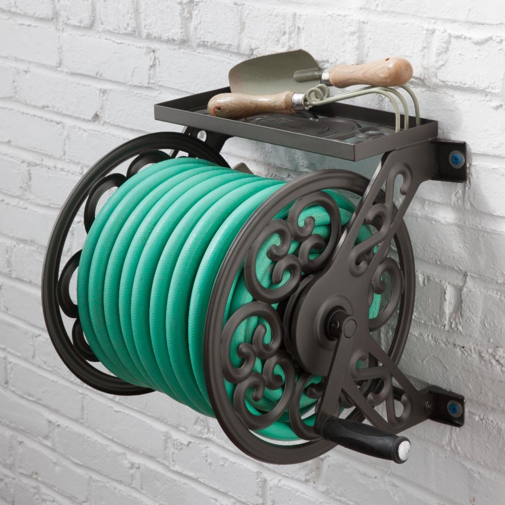 Liberty Garden Products 708 Steel Decorative Wall Mount Hose Reel Holds Ebay