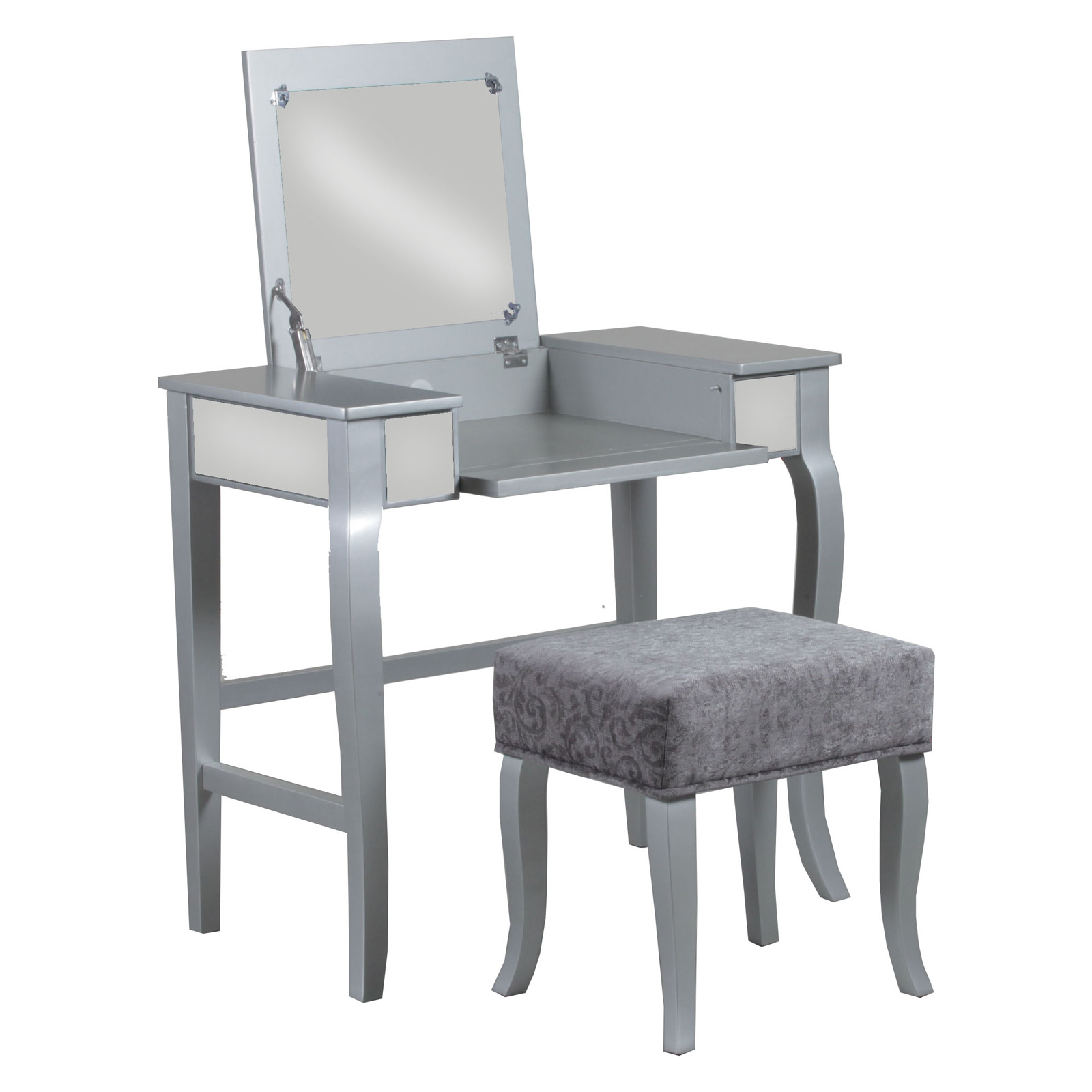 silver vanity table with mirror and bench.  Linon Harper Mirrored Vanity Set Silver or Gold Hayneedle