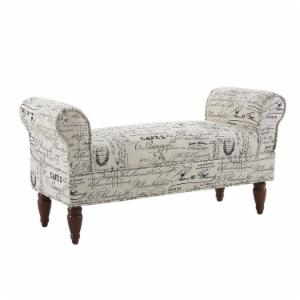 Linon Lillian Printed Upholstered Bench