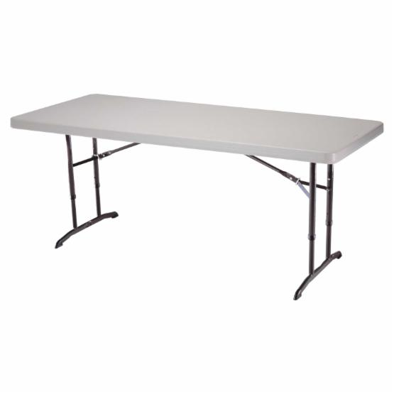 Lifetime 6 ft. Rectangle Commercial Adjustable Height Folding Table - Almond