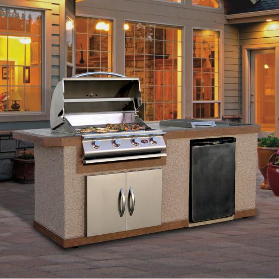 Cal Flame 7 ft. Stucco Grill Island With Tile Top And 4 Burner Gas Grill
