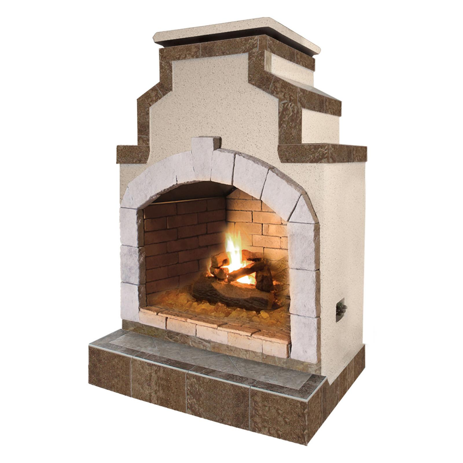 Cal Flame 48 in. Propane Gas Outdoor Fireplace in Porcelain Tile - FRP910-2-1