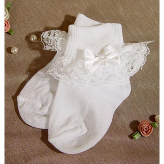 White Nylon Anklet Sock with Lace and Pearl Bow