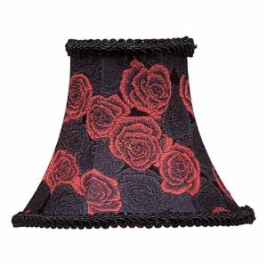 Livex S127 Black/Red Rose Bell Clip Chandelier Shade with Fancy Trim