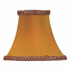 Livex S217 Illusion Bell Clip Chandelier Shade with Fancy Trim in Gold/Burgundy