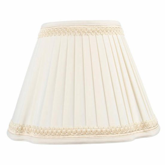 Livex S574 French Oval Pleat Shantung Silk Lamp Shade with Fancy Trim in Off White