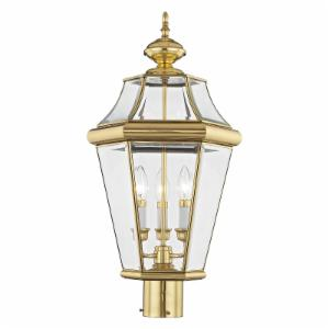 Livex Georgetown 2364-02 Outdoor Post Head - Polished Brass - 13W in.