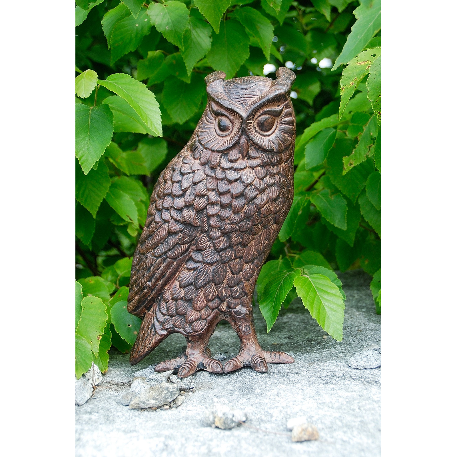 Campania International Large Horned Owl Cast Stone Garden Statue ...