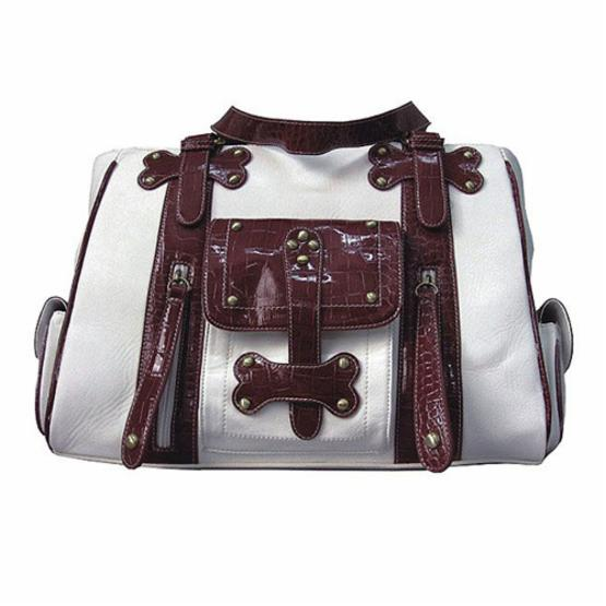 Backbone Pet Faux Leather Handbag Pet Carrier - White and Burgundy