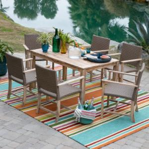 Belham Living Bayport Wood and All Weather Wicker Arm Chair Patio Dining Set