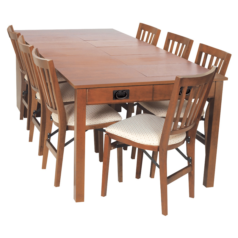 Meco Shaker Mission Style Expanding Cabinet Dining Set   Fruitwood