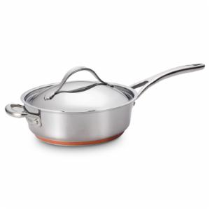 Anolon Nouvelle Stainless Steel 3 qt. Covered Saute Pan with Helper Handle