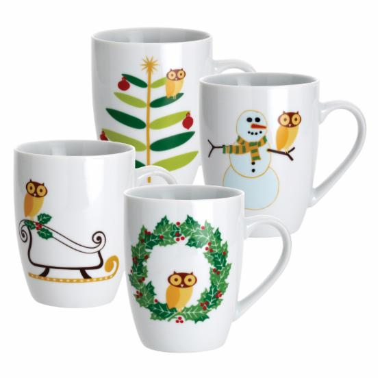 Rachael Ray Dinnerware Holiday Hoot Collection Mugs 4pc. Set