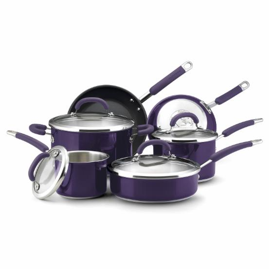 Rachael Ray Stainless Steel 10 pc. Cookware Set - Eggplant