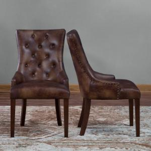 Belham Living Thomas Leather Tufted Dining Chair - Set of 2