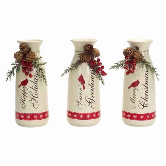 Melrose 10 in. Cardinal Milk Bottles with Pinecone and Berries Set