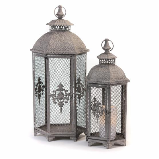 Melrose Lantern with Wire Sides - Set of 2