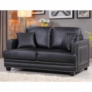 Meridian Furniture Inc Ferrara Nailhead Loveseat with Toss Pillows