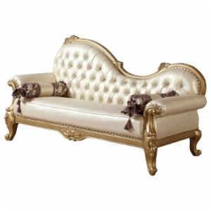Meridian Furniture Inc Bennito Pearl Leather Chaise