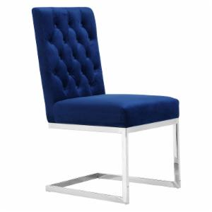 Meridian Furniture Inc Carlton Navy Velvet Dining Chair - Set of 2