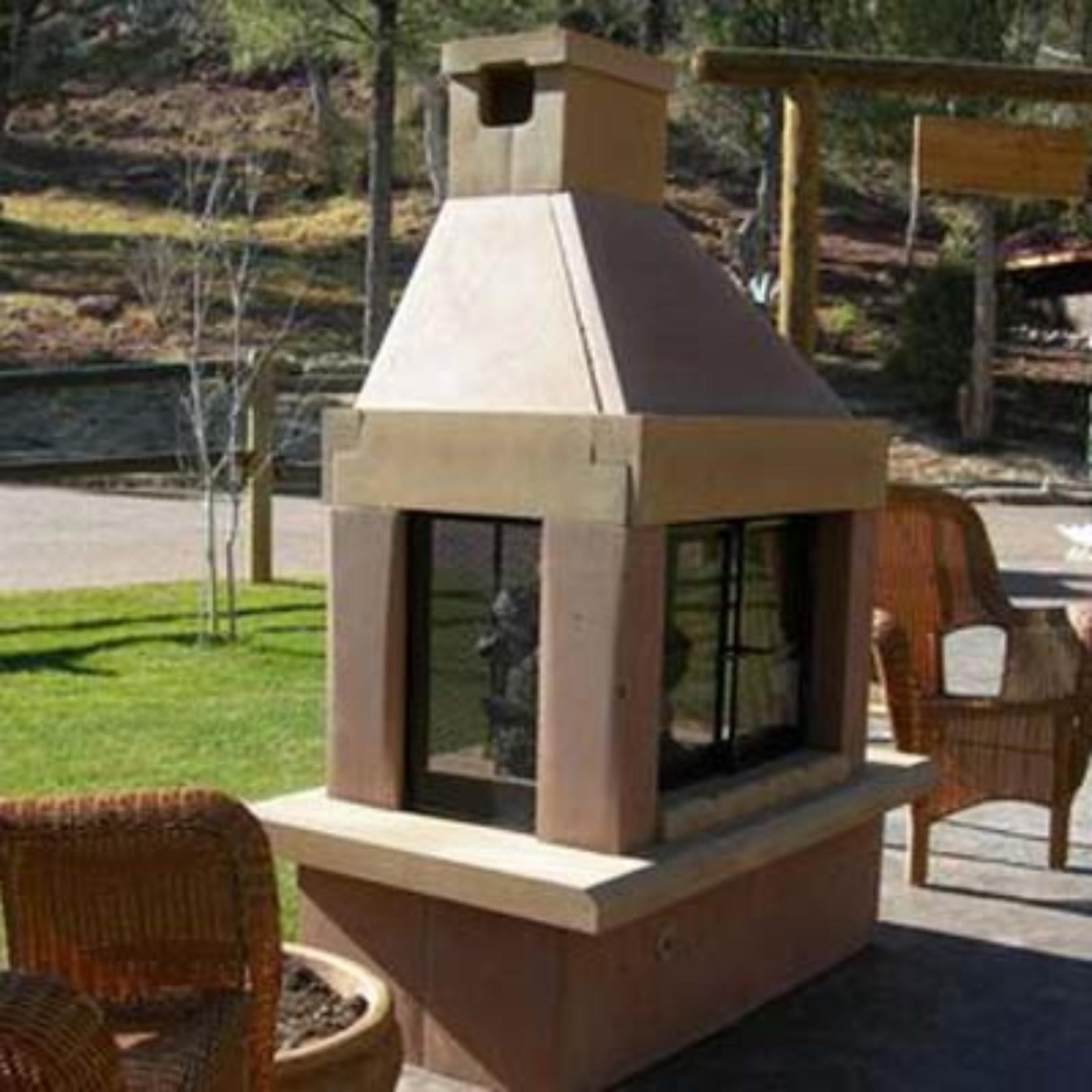 Mirage Stone See-Through Outdoor Fireplace with Gas Log Kit Sandstone - SEETHRUNGSANDSTANDARD