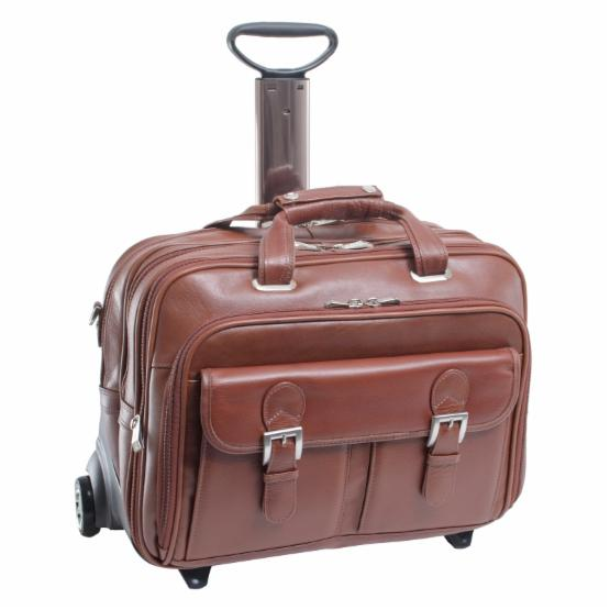 Siamod Ceresola Fly-Through Checkpoint-Friendly Detachable-Wheeled Leather Laptop Case - Cognac