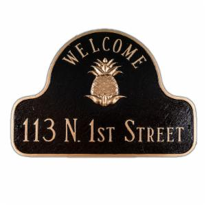 Pineapple Welcome 1-Line Decorative Arch Address Plaque