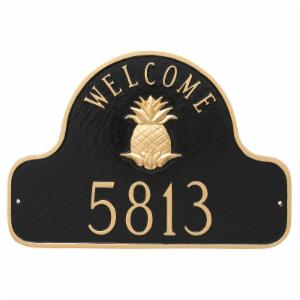 Montague Metal Pineapple Welcome Arch Address Sign Wall Plaque