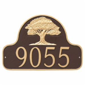 Montague Metal Oak Tree Arch Address Sign Wall Plaque