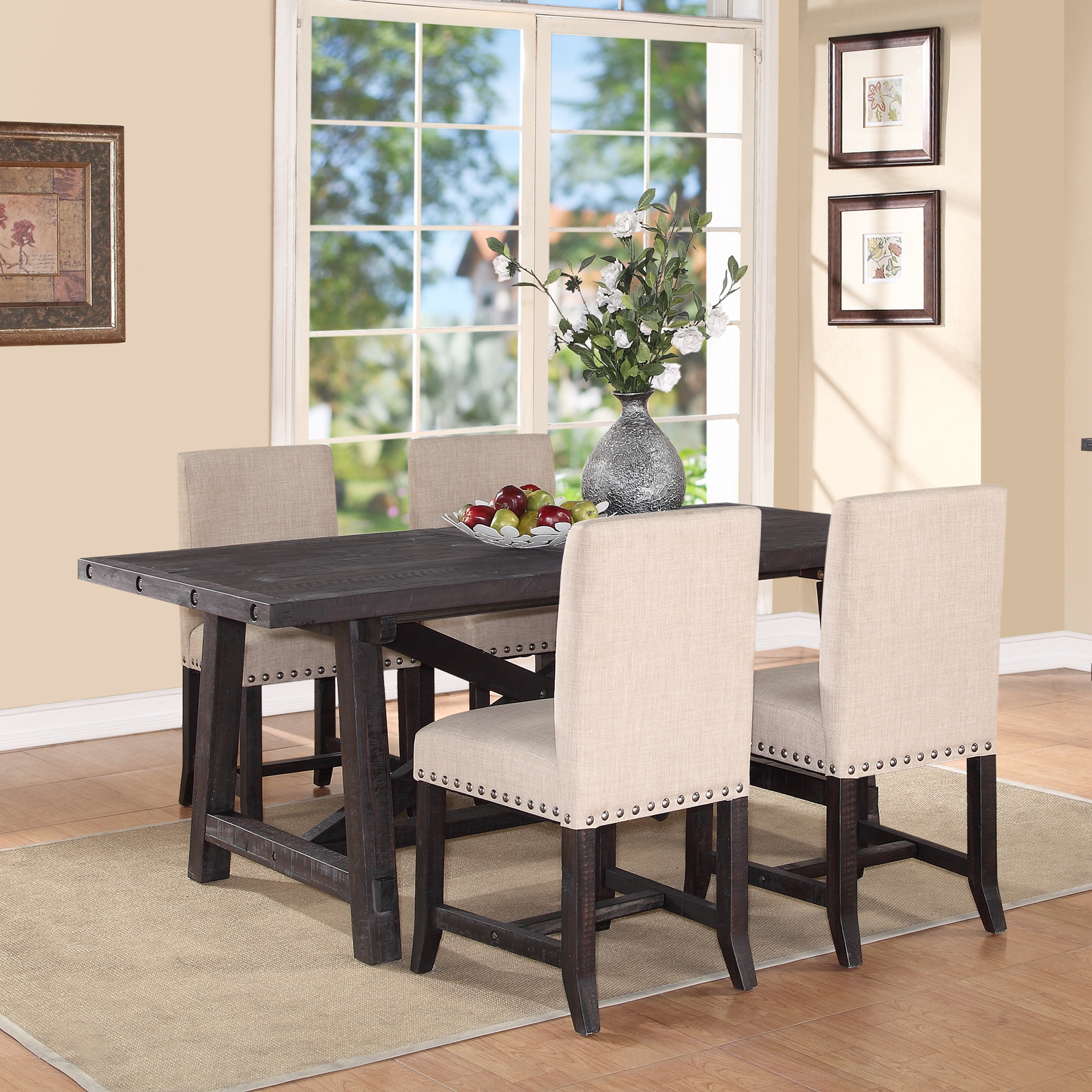 Modus Yosemite 8 Piece Oval Dining Table Set With Upholstered Chairs And Settee