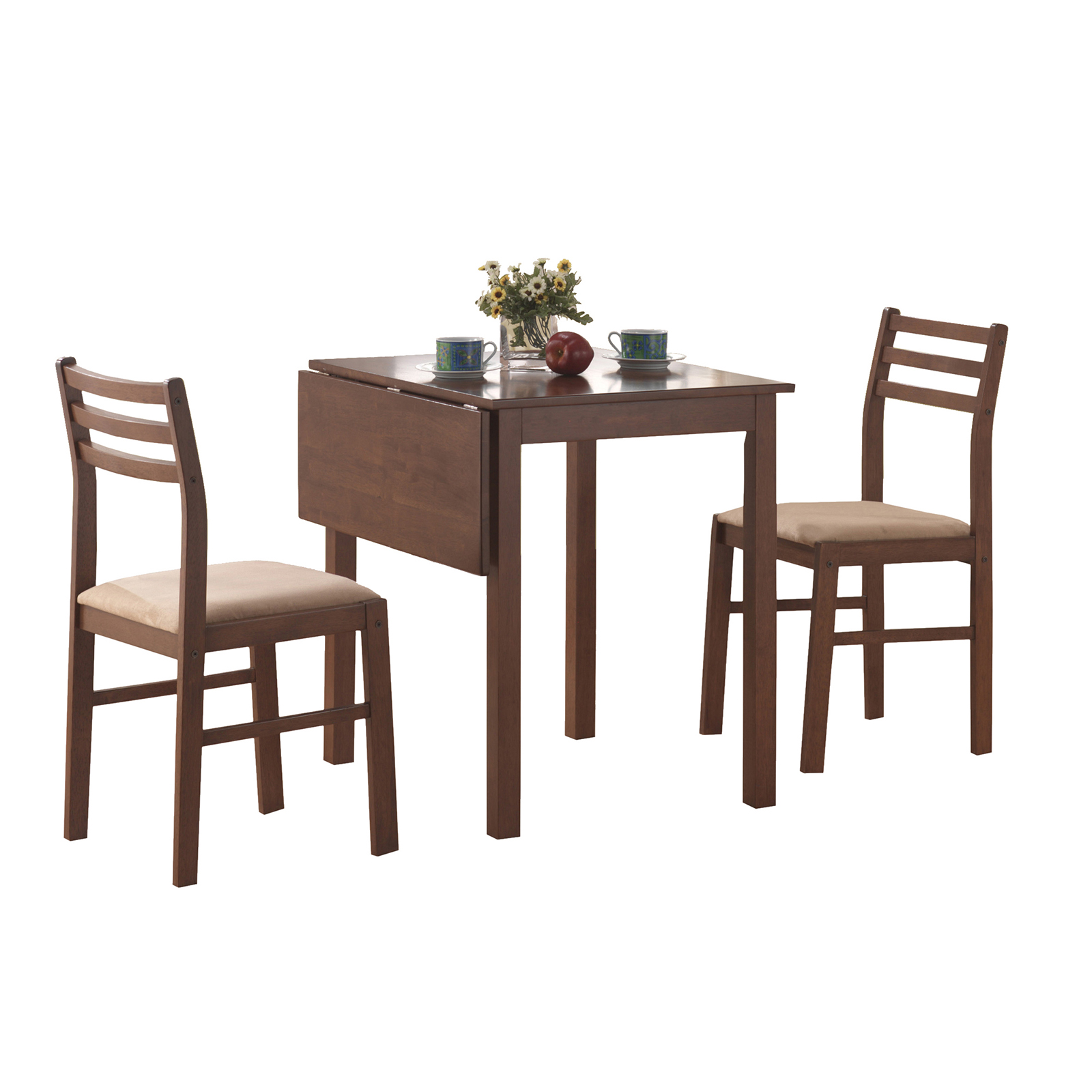 Monarch Specialties Belton 3 Piece Square Dining Table Set with Drop