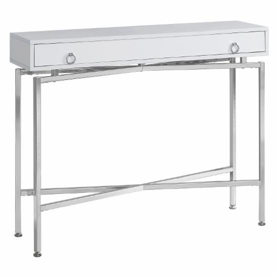 Monarch 42 in. Glossy White and Chrome Hall Console Table