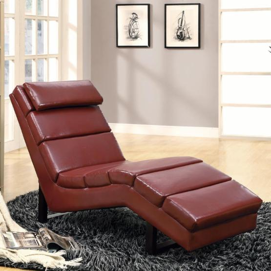 Monarch Faux Leather Chaise Lounger - Red