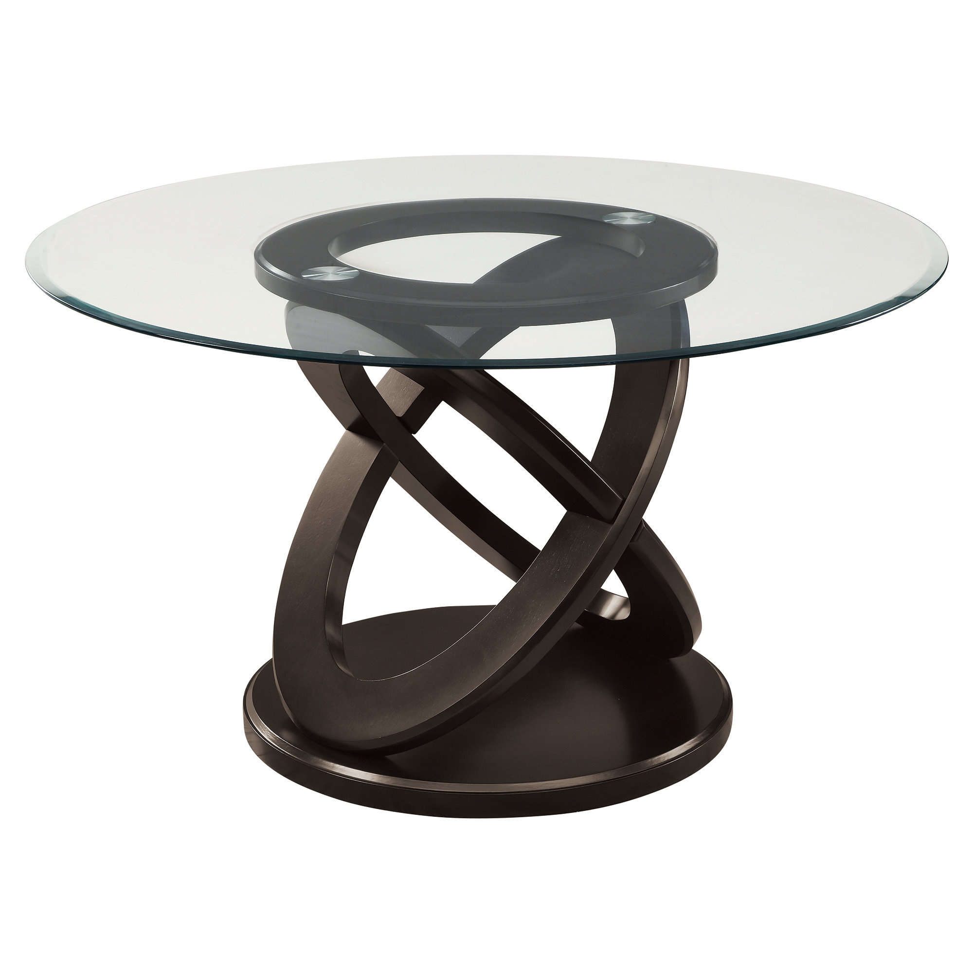 QUICK VIEW. Monarch Olympic Ring Dark Espresso Glass Top Round Dining Table