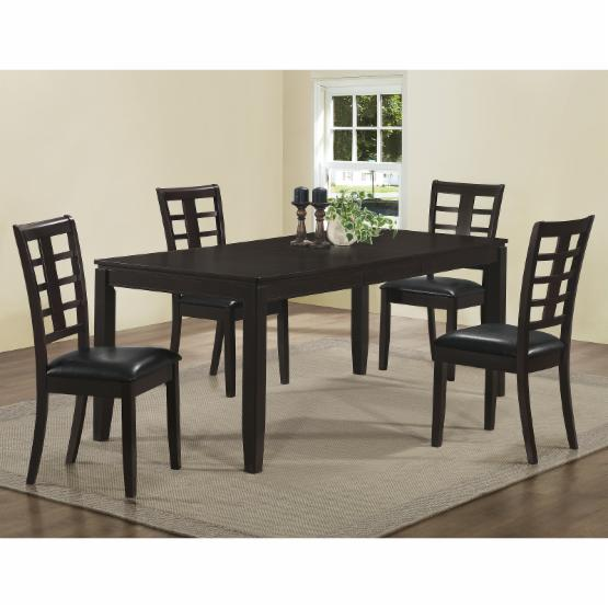 Monarch Cappuccino 5 Piece 78 in. Rectangle Dining Set with Grid Back Chairs